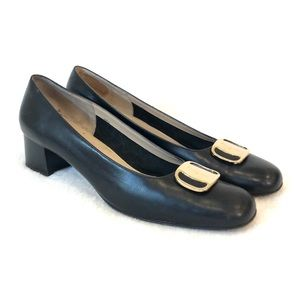 Salvatore Ferragamo Black Leather Pumps Heels 11